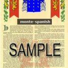 MONTE - SPANISH - Armorial Name History - Coat of Arms - Family Crest GIFT! 8.5x11