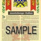 MONTELONGO - ITALIAN - Armorial Name History - Coat of Arms - Family Crest GIFT! 8.5x11