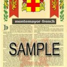MONTEMAYOR - FRENCH - Armorial Name History - Coat of Arms - Family Crest GIFT! 8.5x11
