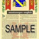 MONTENEGRO - ENGLISH - Armorial Name History - Coat of Arms - Family Crest GIFT! 8.5x11