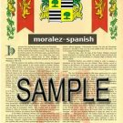 MORALEZ - SPANISH - Armorial Name History - Coat of Arms - Family Crest GIFT! 8.5x11
