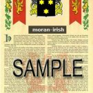 MORAN - IRISH - Armorial Name History - Coat of Arms - Family Crest GIFT! 8.5x11