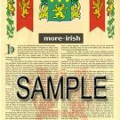 MORE - IRISH - Armorial Name History - Coat of Arms - Family Crest GIFT! 8.5x11