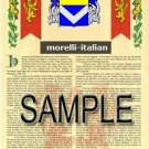 MORELLI - ITALIAN - Armorial Name History - Coat of Arms - Family Crest GIFT! 8.5x11