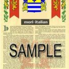 MORI - ITALIAN - Armorial Name History - Coat of Arms - Family Crest GIFT! 8.5x11