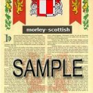 MORLEY - SCOTTISH - Armorial Name History - Coat of Arms - Family Crest GIFT! 8.5x11