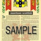 MORRISON - SCOTTISH - Armorial Name History - Coat of Arms - Family Crest GIFT! 8.5x11