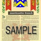 MORRISSETTE - FRENCH - Armorial Name History - Coat of Arms - Family Crest GIFT! 8.5x11