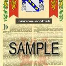 MORROW - SCOTTISH - Armorial Name History - Coat of Arms - Family Crest GIFT! 8.5x11