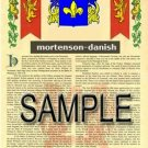 MORTENSON - DANISH - Armorial Name History - Coat of Arms - Family Crest GIFT! 8.5x11