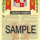 MORTON - ENGLISH - Armorial Name History - Coat of Arms - Family Crest GIFT! 8.5x11