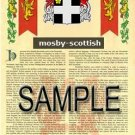 MOSBY - SCOTTISH - Armorial Name History - Coat of Arms - Family Crest GIFT! 8.5x11