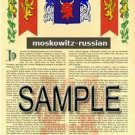 MOSKOWITZ - RUSSIAN - Armorial Name History - Coat of Arms - Family Crest GIFT! 8.5x11