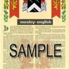 MOSLEY - ENGLISH - Armorial Name History - Coat of Arms - Family Crest GIFT! 8.5x11