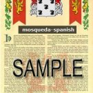 MOSQUEDA - SPANISH - Armorial Name History - Coat of Arms - Family Crest GIFT! 8.5x11