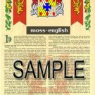 MOSS - ENGLISH - Armorial Name History - Coat of Arms - Family Crest GIFT! 8.5x11