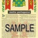 MOTTA - PORTUGUESE - Armorial Name History - Coat of Arms - Family Crest GIFT! 8.5x11