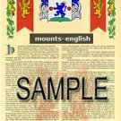 MOUNTS - ENGLISH - Armorial Name History - Coat of Arms - Family Crest GIFT! 8.5x11