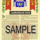 MULHOLLAND - IRISH - Armorial Name History - Coat of Arms - Family Crest GIFT! 8.5x11