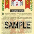 MULLEN - IRISH - Armorial Name History - Coat of Arms - Family Crest GIFT! 8.5x11