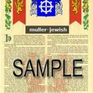 MULLER - JEWISH - Armorial Name History - Coat of Arms - Family Crest GIFT! 8.5x11
