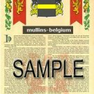MULLINS - BELGIUM - Armorial Name History - Coat of Arms - Family Crest GIFT! 8.5x11