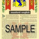 MUNFORD - ENGLISH - Armorial Name History - Coat of Arms - Family Crest GIFT! 8.5x11