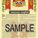 MUNSEY - ENGLISH - Armorial Name History - Coat of Arms - Family Crest GIFT! 8.5x11
