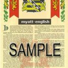 MYATT - ENGLISH - Armorial Name History - Coat of Arms - Family Crest GIFT! 8.5x11