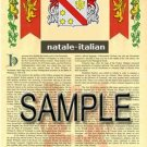 NATALE - ITALIAN - Armorial Name History - Coat of Arms - Family Crest GIFT! 8.5x11