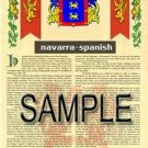 NAVARRA - SPANISH - Armorial Name History - Coat of Arms - Family Crest GIFT! 8.5x11