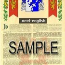 NEEL - ENGLISH - Armorial Name History - Coat of Arms - Family Crest GIFT! 8.5x11