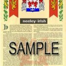 NEELEY - IRISH - Armorial Name History - Coat of Arms - Family Crest GIFT! 8.5x11