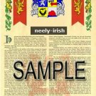 NEELY - IRISH - Armorial Name History - Coat of Arms - Family Crest GIFT! 8.5x11