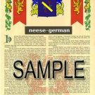 NEESE - GERMAN - Armorial Name History - Coat of Arms - Family Crest GIFT! 8.5x11