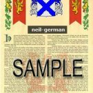 NEIL - GERMAN - Armorial Name History - Coat of Arms - Family Crest GIFT! 8.5x11