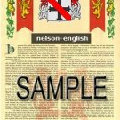 NELSON - ENGLISH - Armorial Name History - Coat of Arms - Family Crest GIFT! 8.5x11