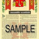 NESMITH - SCOTTISH - Armorial Name History - Coat of Arms - Family Crest GIFT! 8.5x11