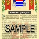 NEWBERRY - ENGLISH - Armorial Name History - Coat of Arms - Family Crest GIFT! 8.5x11