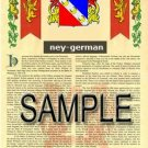 NEY - GERMAN - Armorial Name History - Coat of Arms - Family Crest GIFT! 8.5x11