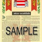 NICE - SCOTTISH - Armorial Name History - Coat of Arms - Family Crest GIFT! 8.5x11