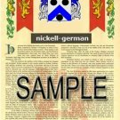 NICKELL - GERMAN - Armorial Name History - Coat of Arms - Family Crest GIFT! 8.5x11