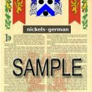 NICKELS - GERMAN - Armorial Name History - Coat of Arms - Family Crest GIFT! 8.5x11