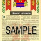NICOLAS - GERMAN - Armorial Name History - Coat of Arms - Family Crest GIFT! 8.5x11