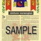 NIELSEN - NORWEGIAN - Armorial Name History - Coat of Arms - Family Crest GIFT! 8.5x11