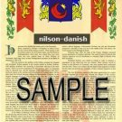 NILSON - DANISH - Armorial Name History - Coat of Arms - Family Crest GIFT! 8.5x11