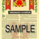 NIMMONS - SCOTTISH - Armorial Name History - Coat of Arms - Family Crest GIFT! 8.5x11