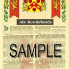 NIX - BORDERLANDS - Armorial Name History - Coat of Arms - Family Crest GIFT! 8.5x11