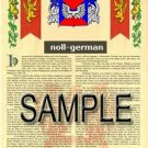 NOLL - GERMAN - Armorial Name History - Coat of Arms - Family Crest GIFT! 8.5x11