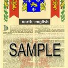 NORTH - ENGLISH - Armorial Name History - Coat of Arms - Family Crest GIFT! 8.5x11